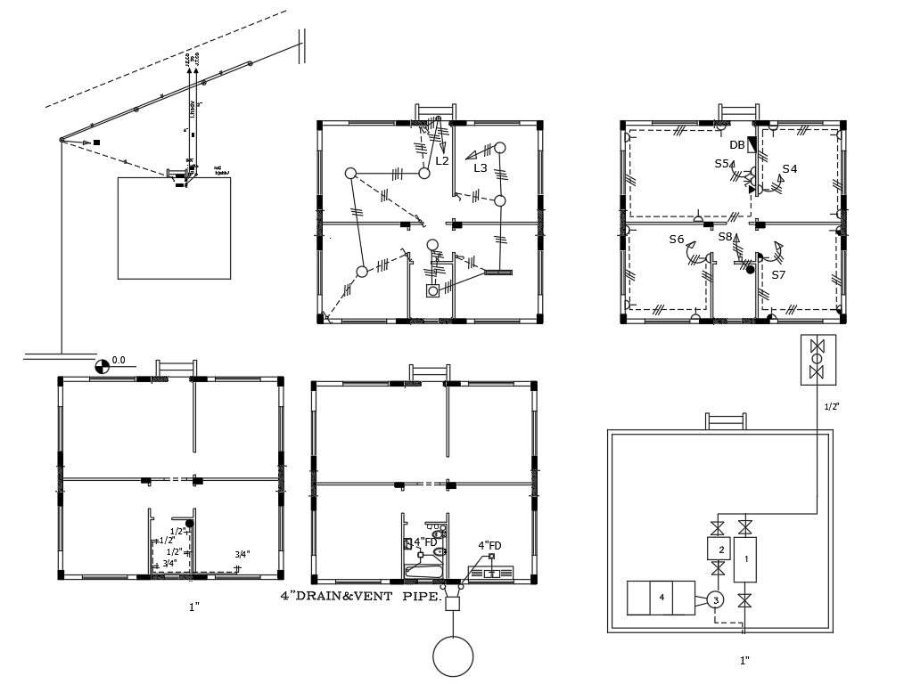2 Bhk House Electrical And Wiring Layout Plan Design Cadbull