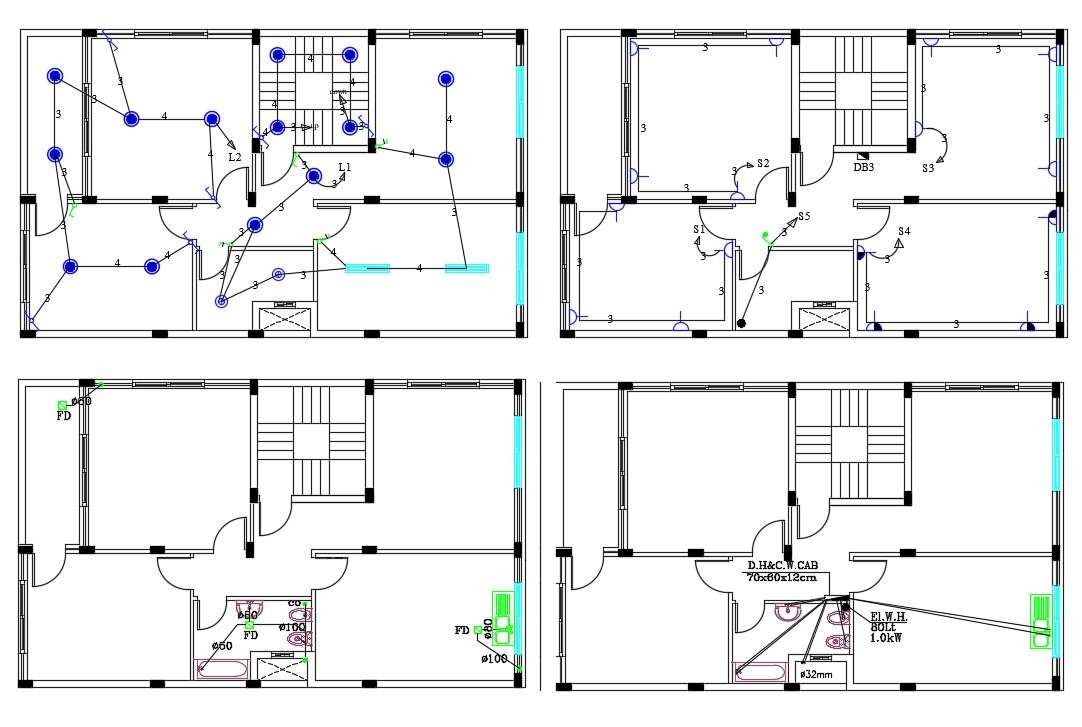 2 Bhk House Electrical Wiring And Plumbing Plan Design Cadbull