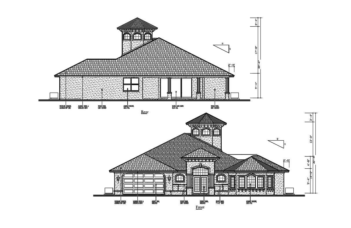 2d Cad Drawing Rear And Front Side Sloping Roof Elevation Of Huge Bungalow Autocad File Cadbull