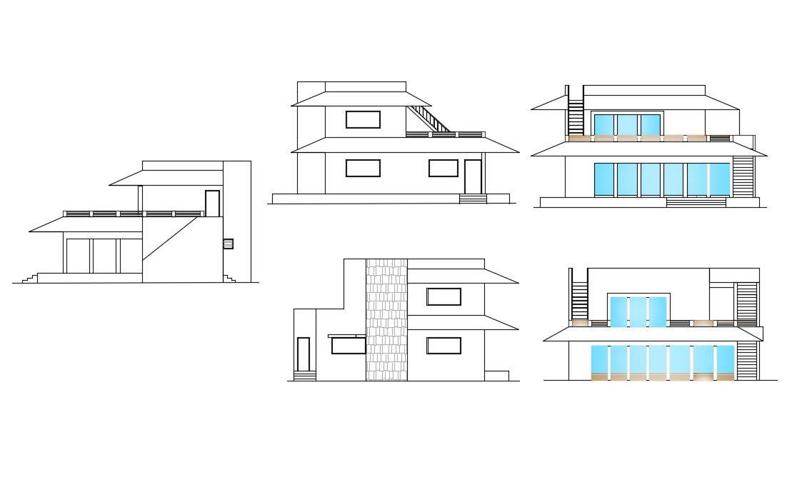 2d Cad Sloping Roof Elevation Drawing Of Bungalow Autocad File Cadbull