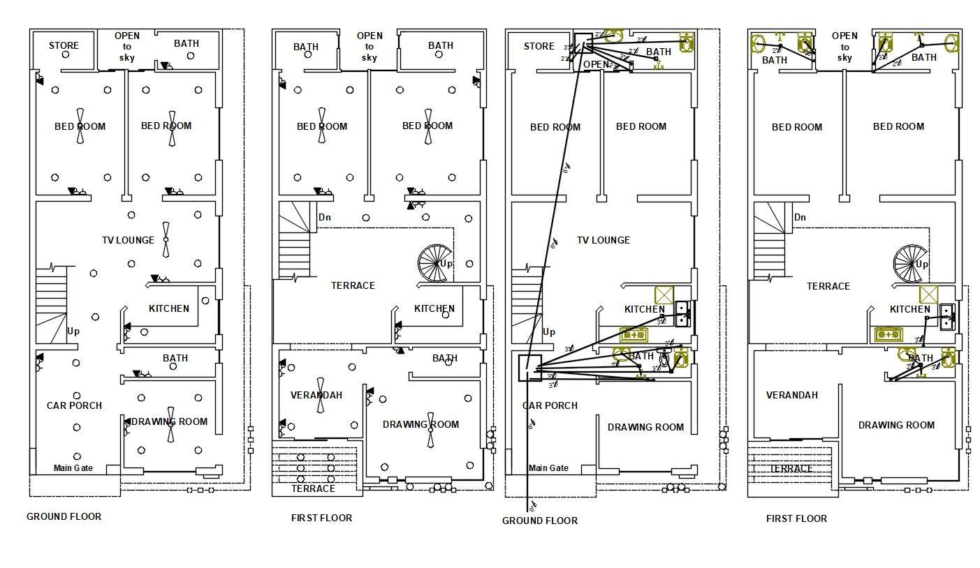 2d House Electrical And Plumbing Layout Plan Autocad Drawing Cadbull