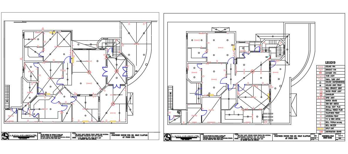 2 Storey House Electrical Layout Plan With Legend Note Cad Drawing Cadbull