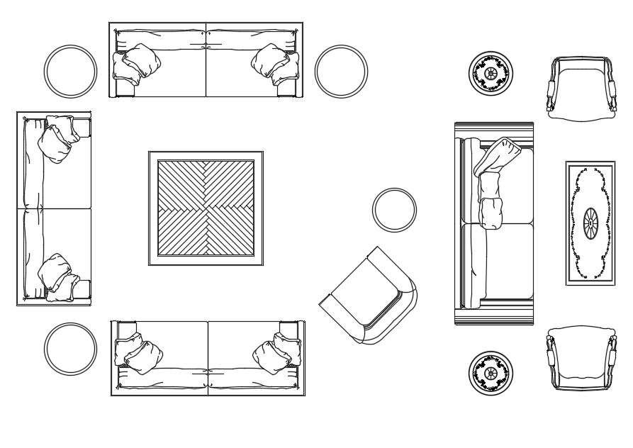 2d Living Room Furniture Cad Blocks, Modern Living Room Furniture Cad Blocks