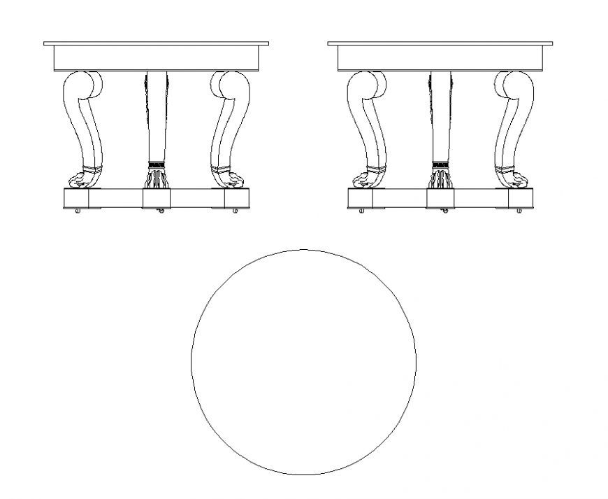 2d view round table detail elevation layout autocad file ...