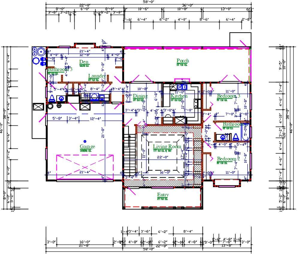 3 BHK  Architecture Plan  AutoCAD  File  Cadbull