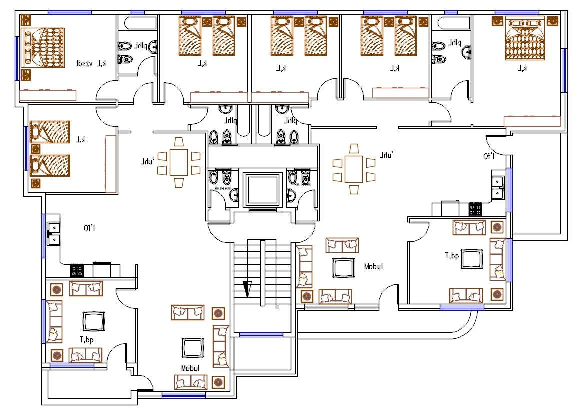 3 Bedroom Apartment Floor Plans With Furniture Layout Dwg File Cadbull