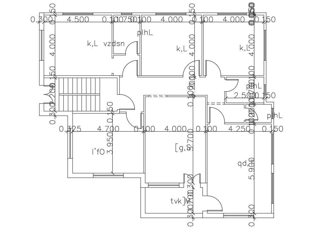 3 Bedroom House Floor Plan Autocad Drawing Cadbull