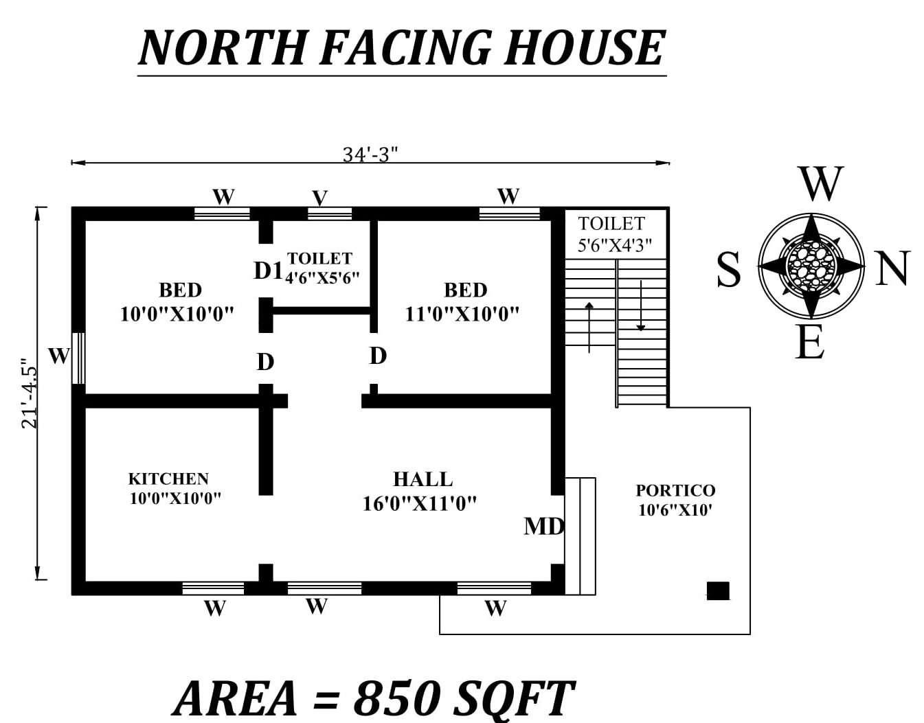 34 x21 5 quot 2bhk north facing house plan as per vastu