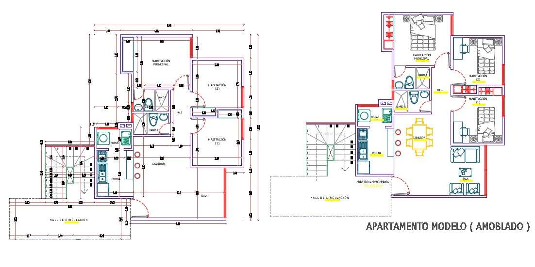 3 BHK  House  Apartment Layout Plan  AutoCAD  Drawing DWG File