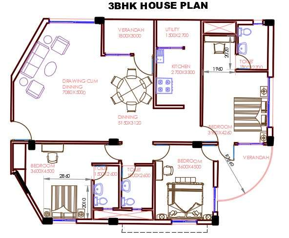 3 BHK  House  Plan  AutoCAD  Drawing DWG File  Cadbull