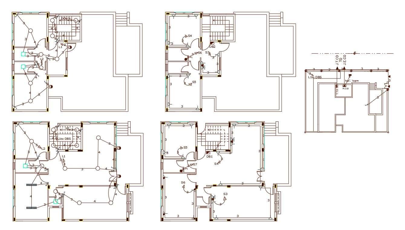 3 bedroom house electrical plan design dwg file - cadbull