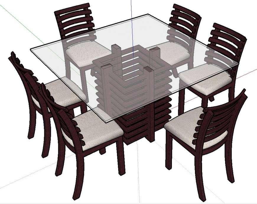 3d modern dining table design cad file - Cadbull