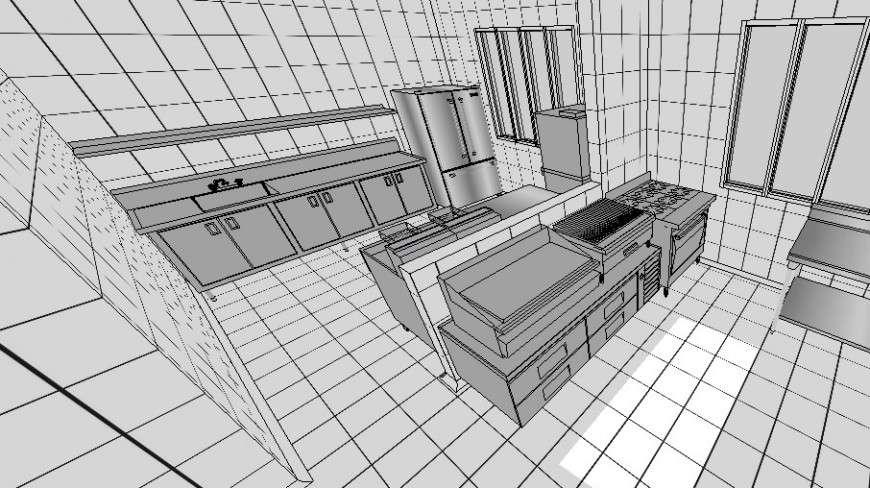 3d modular kitchen design sketch up file  cadbull