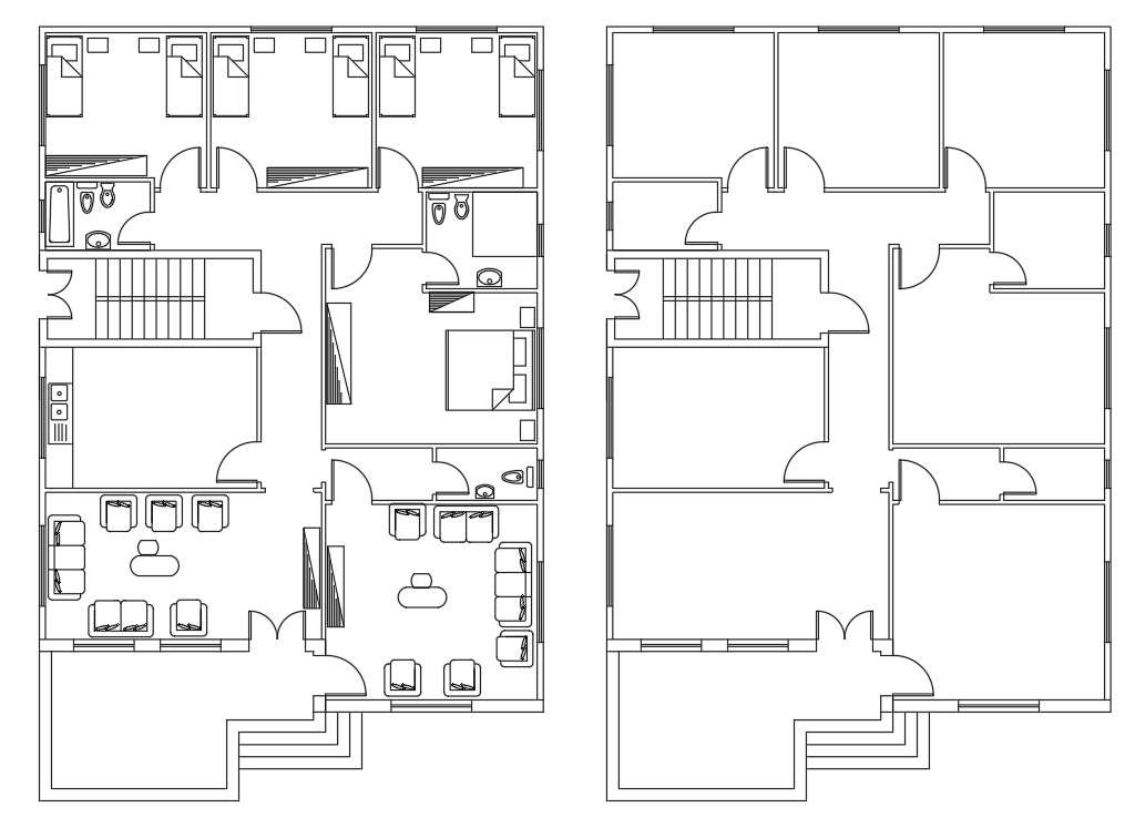 4 bedroom house furniture layout plan autocad drawing