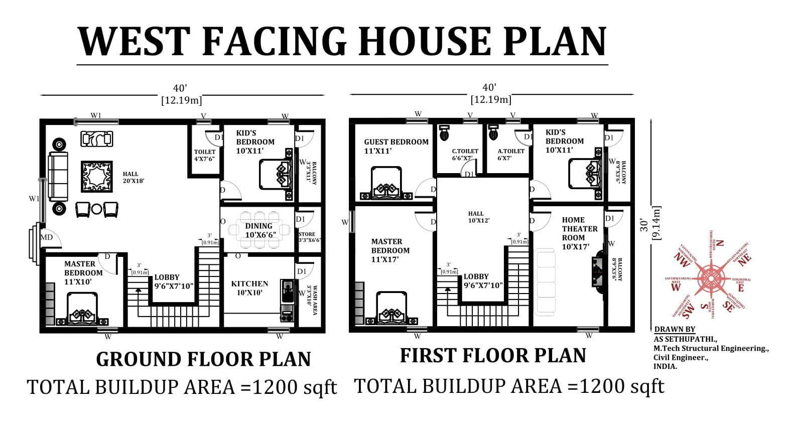 40'X30' West facing 5bhk duplex house plan with the ...