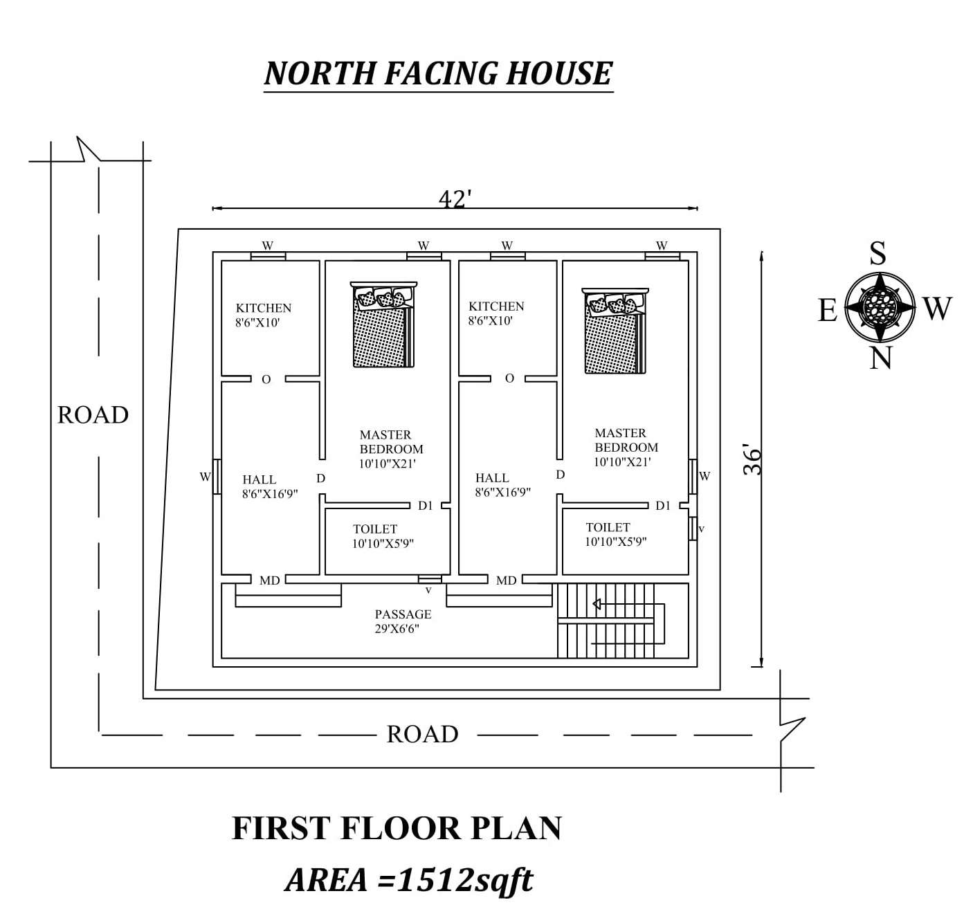 42 x 36 single bhk north facing first floor house plan