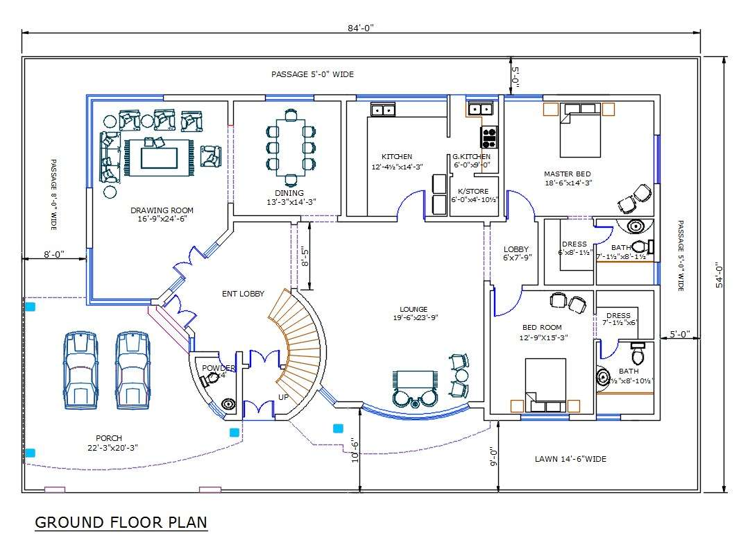 4500 square feet house ground floor plan with furniture