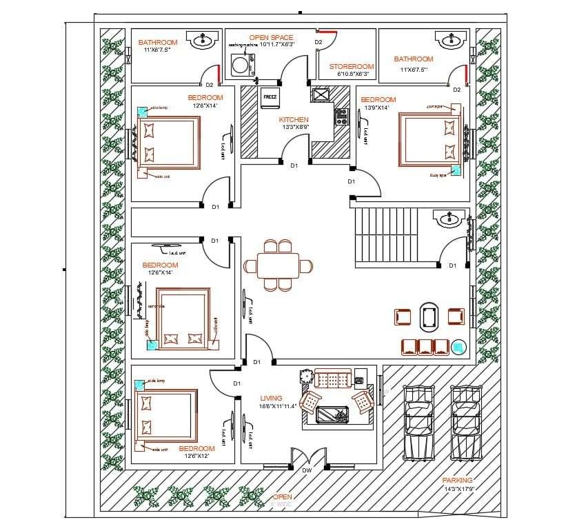4 bedroom house autocad ground floor plan design  cadbull