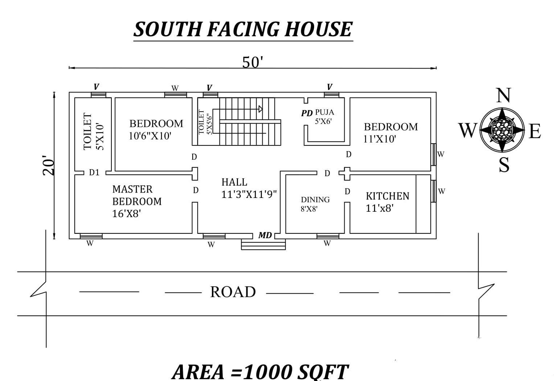 50 x20 3BHK  South Facing House  Plan  As Per Vastu Shatra