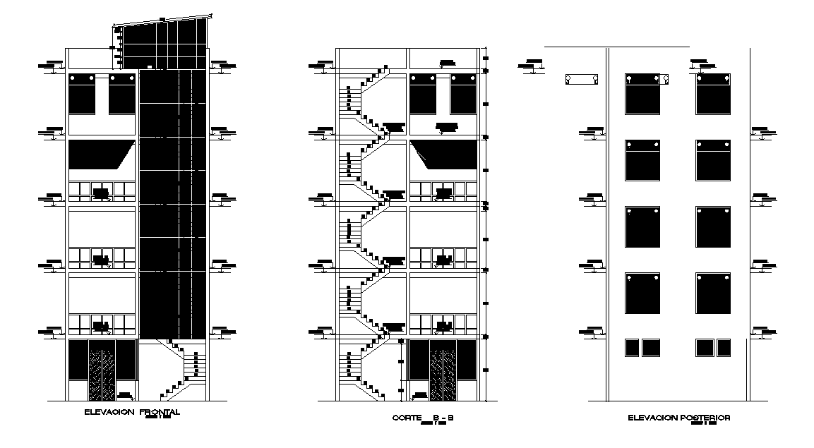 Apartment Building Sectional Elevation CAD Drawing DWG ...