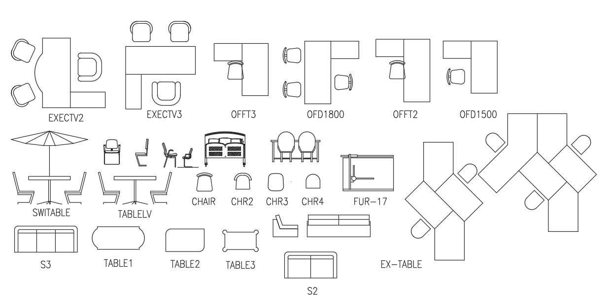 AutoCAD Office Furniture Blocks Plan View - Cadbull