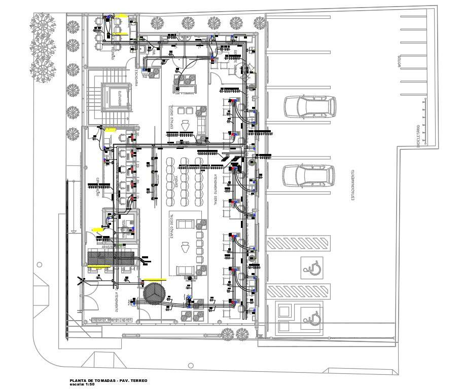 Bank Ground Floor Plan With Electrical Layout Drawing Dwg File Cadbull