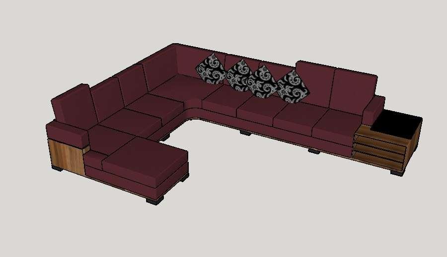 Beautiful L shape 3d sofa set design cad drawing details ...