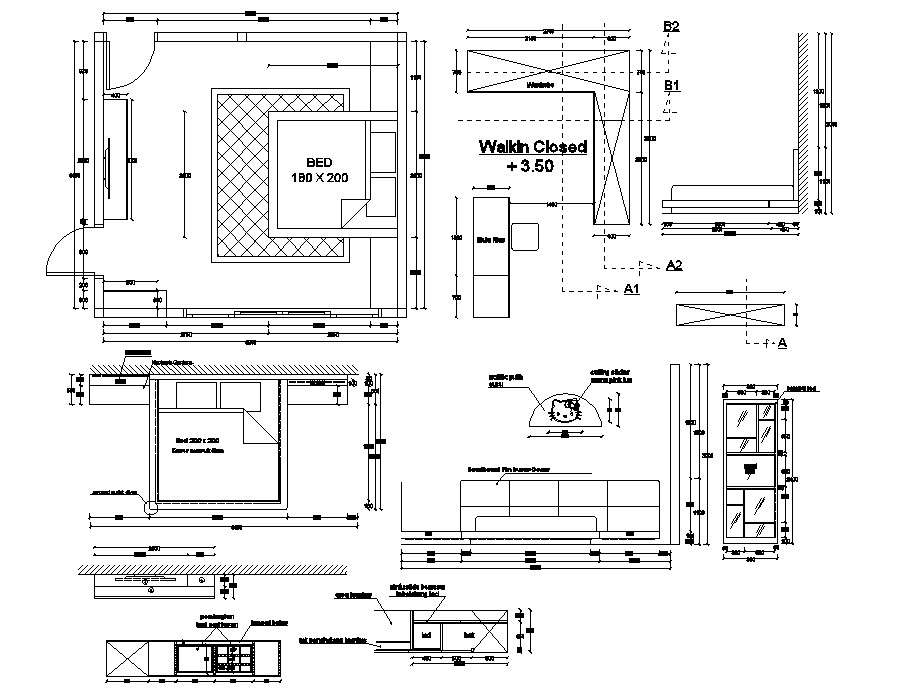 Bedroom Interior Design Autocad File Cadbull