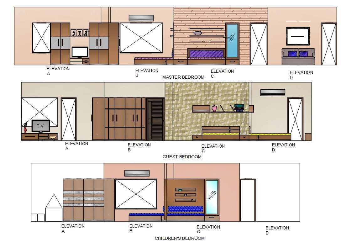 Bedroom Interior Design Elevation View AutoCAD File - Cadbull