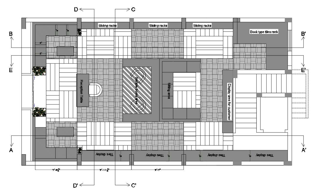 Best Dwg File Of Tiles Shop Furniture Layout Plan Autocad Drawing Cadbull