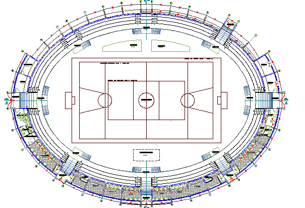 Coliseum Architecture Layout And Structure Design Dwg File Cadbull
