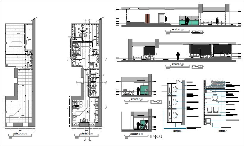 Commercial Building Floor Plan Detail View Dwg File Cadbull