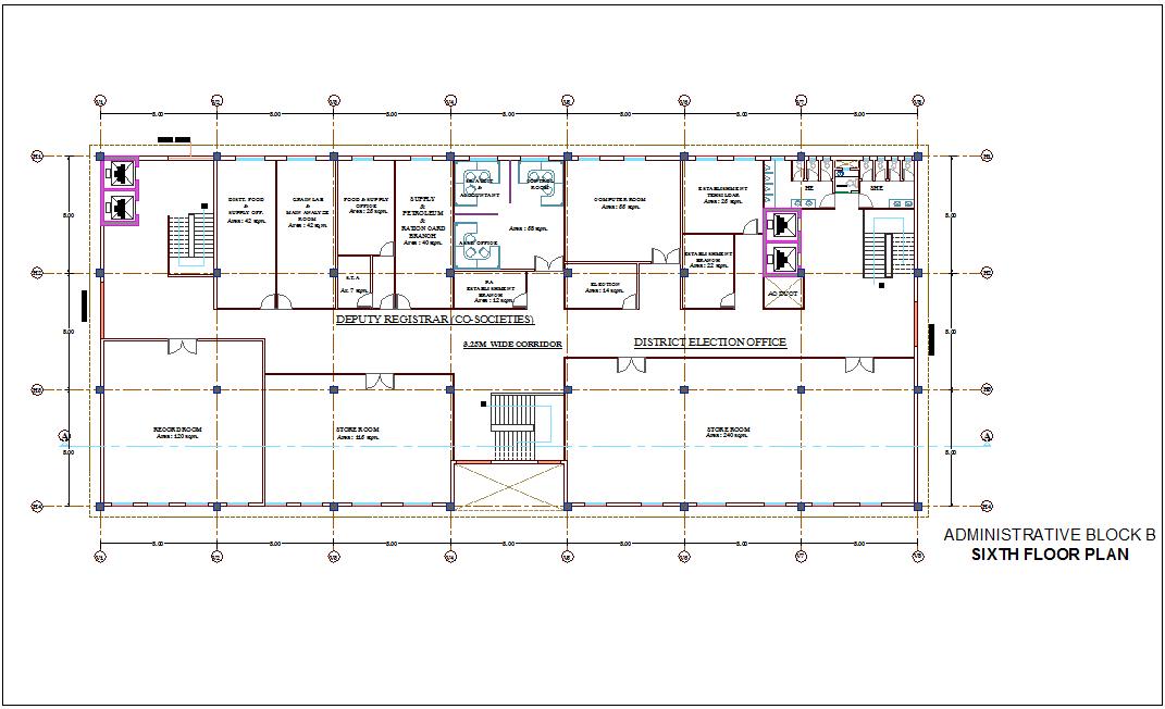 Corporate Building With Administration Plan Of Sixth Floor Plan For Block B Dwg File Cadbull