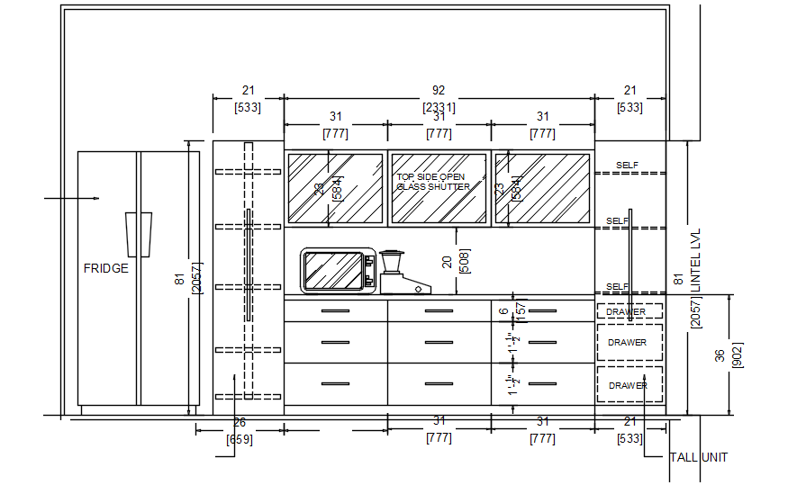 Kitchen Cabinet Layout Design In Dwg File Cadbull