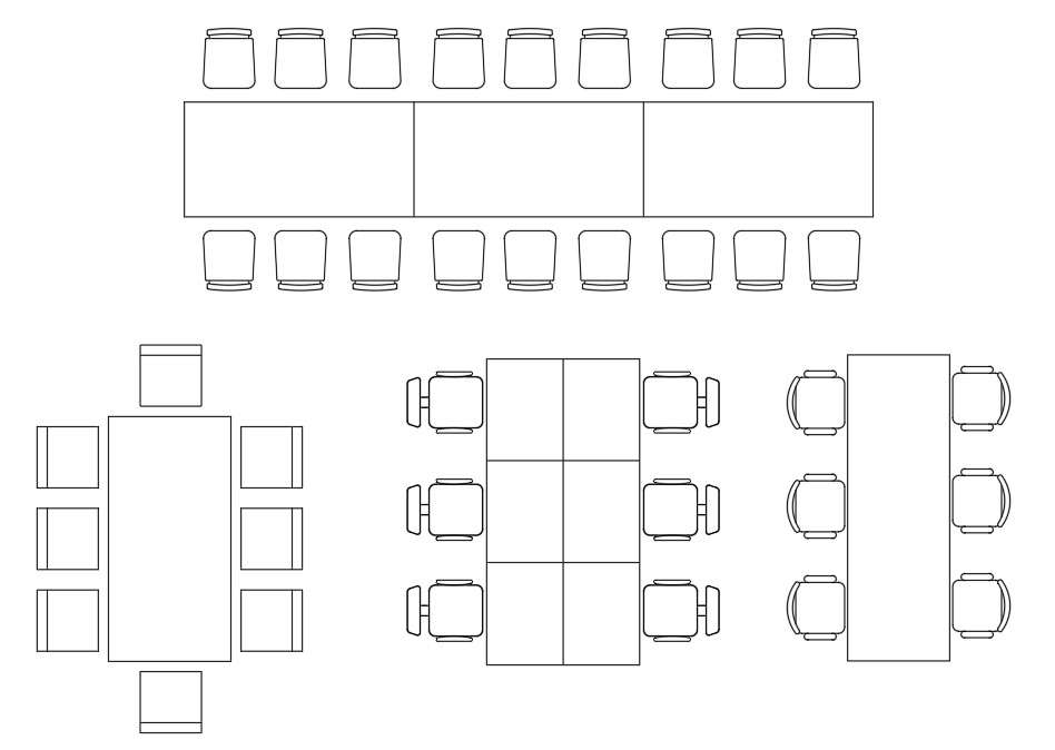 Dining Table And Chair CAD Blocks Top View Drawing Free ...