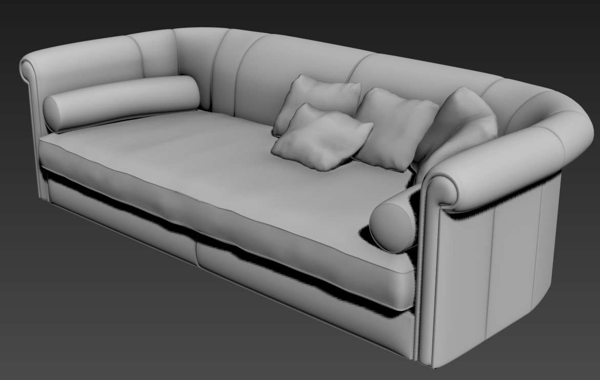 Download Old Style 3 Seater Sofa 3D MAX File - Cadbull