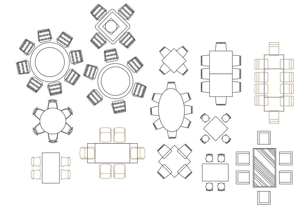 Drawing file of the various types of awesome dining table ...