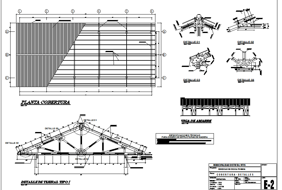 Education school Roof plan and section detail dwg file ...