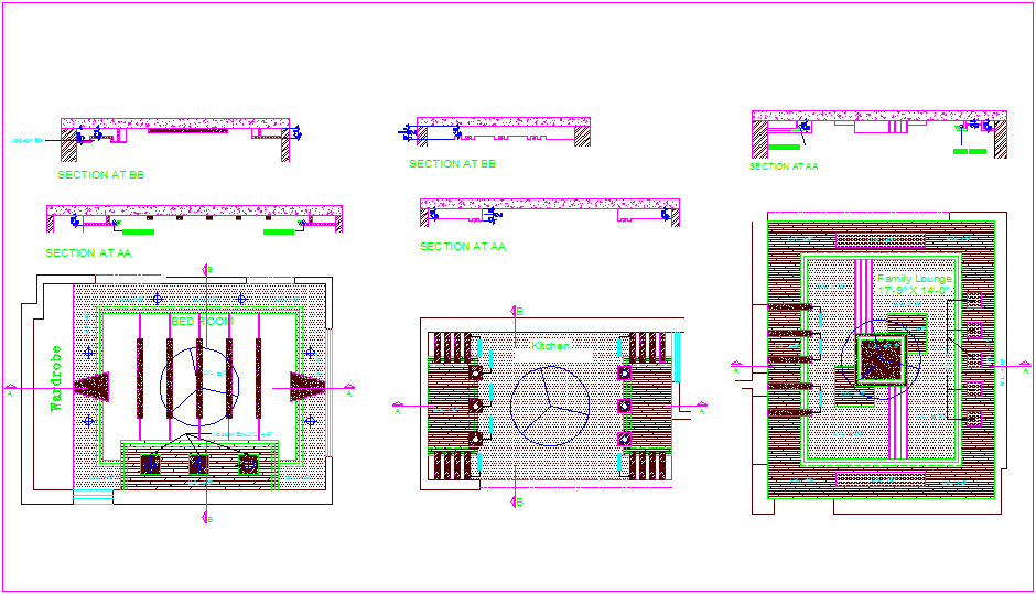 False ceiling interior design with plan and section view ...