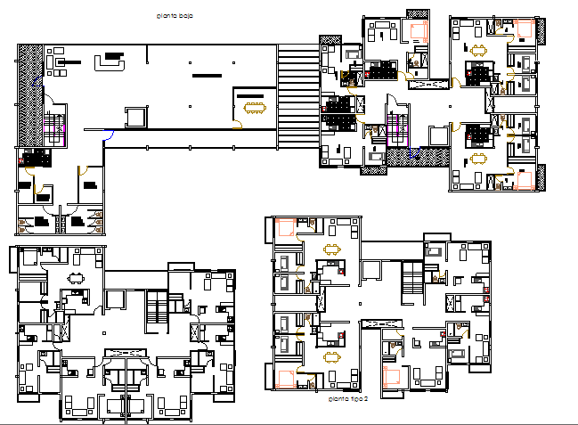 Floor Plan Layout Details Of High Rise Housing And Commercial Building Dwg File Cadbull