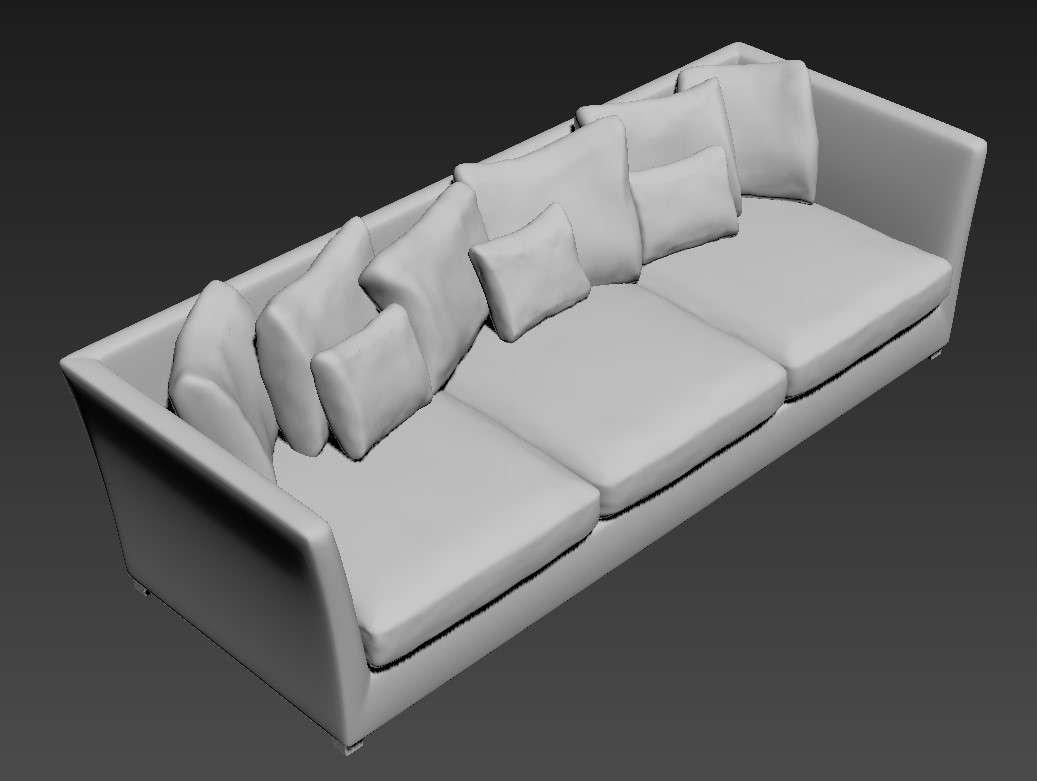 Free Download Three Seater Wooden Sofa 3D MAX File - Cadbull