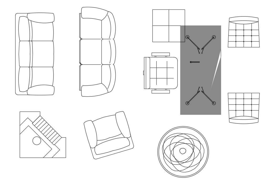 Free Download Sofa And Chair Top View CAD Blocks Drawing ...