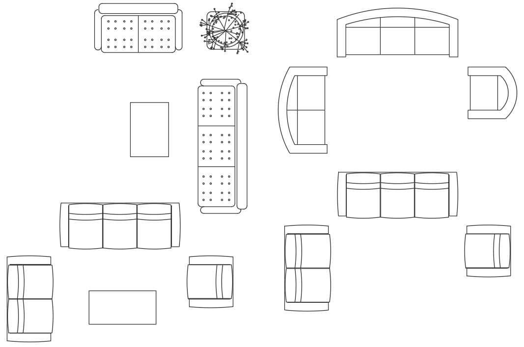 Furniture Sofa Top View Drawing AutoCAD Blocks - Cadbull