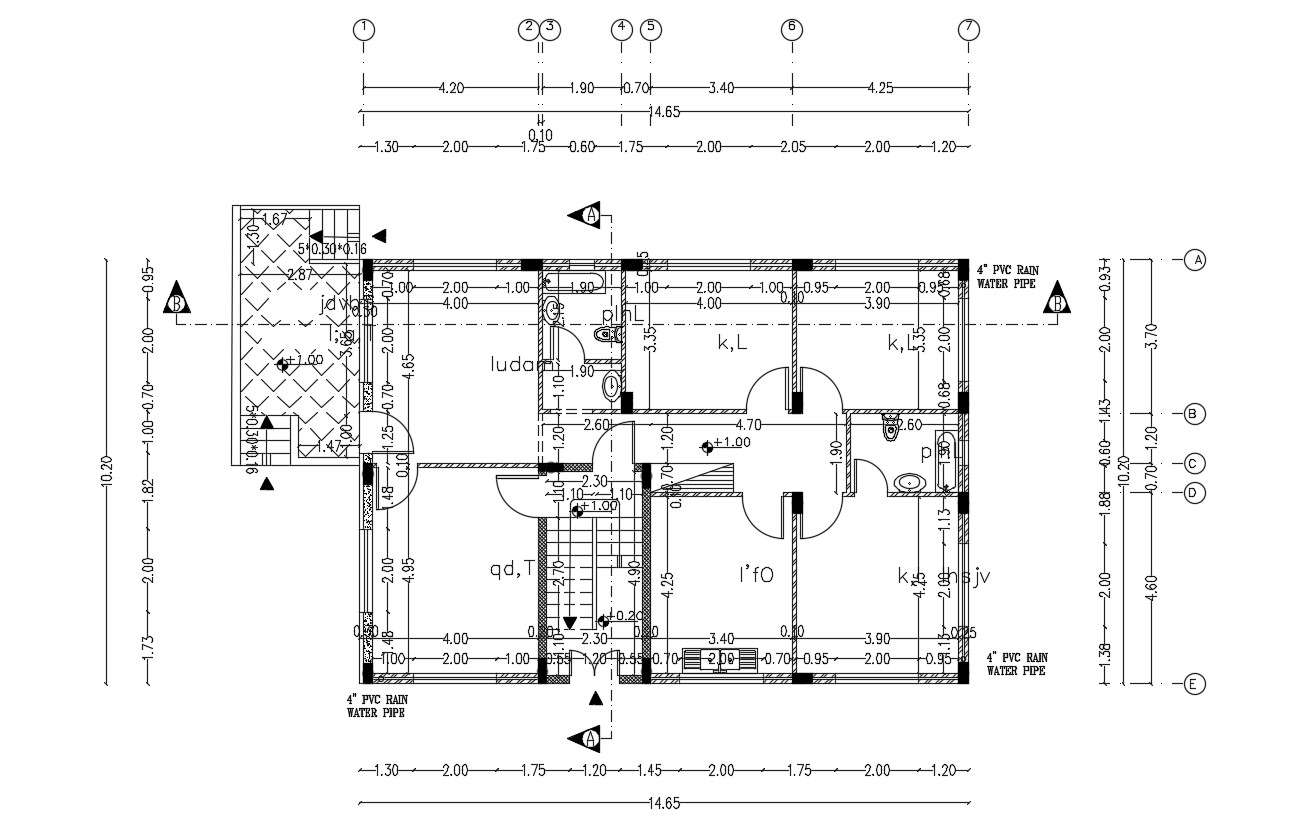 Ground Floor Plan Of Bungalow House Design With Dimension Cadbull