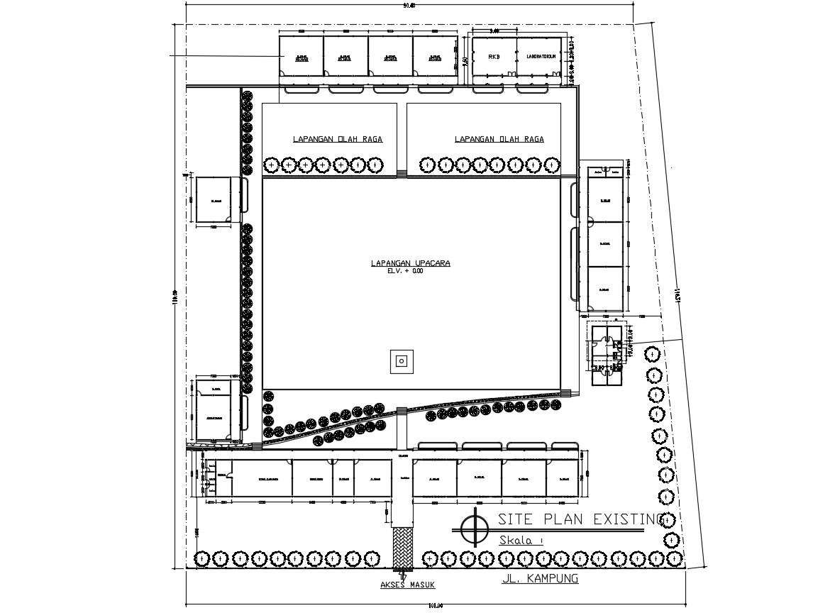 Ground Floor Plan Of Commercial Building Site Plan Autocad File Free Download Cadbull