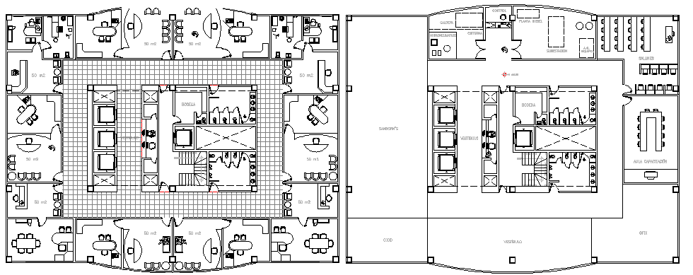 Ground And First Floor Plan Layout Plan Of Administration Office Dwg File Cadbull