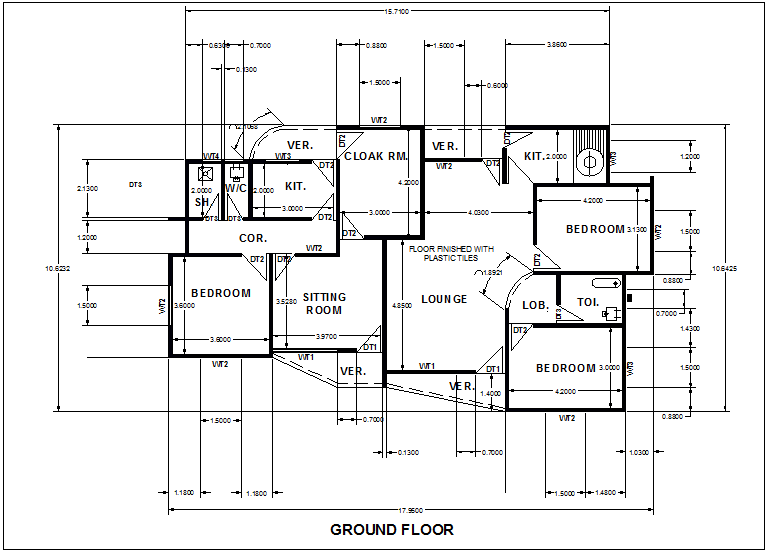 Ground Floor Design Of House With Dimension Dwg File Cadbull