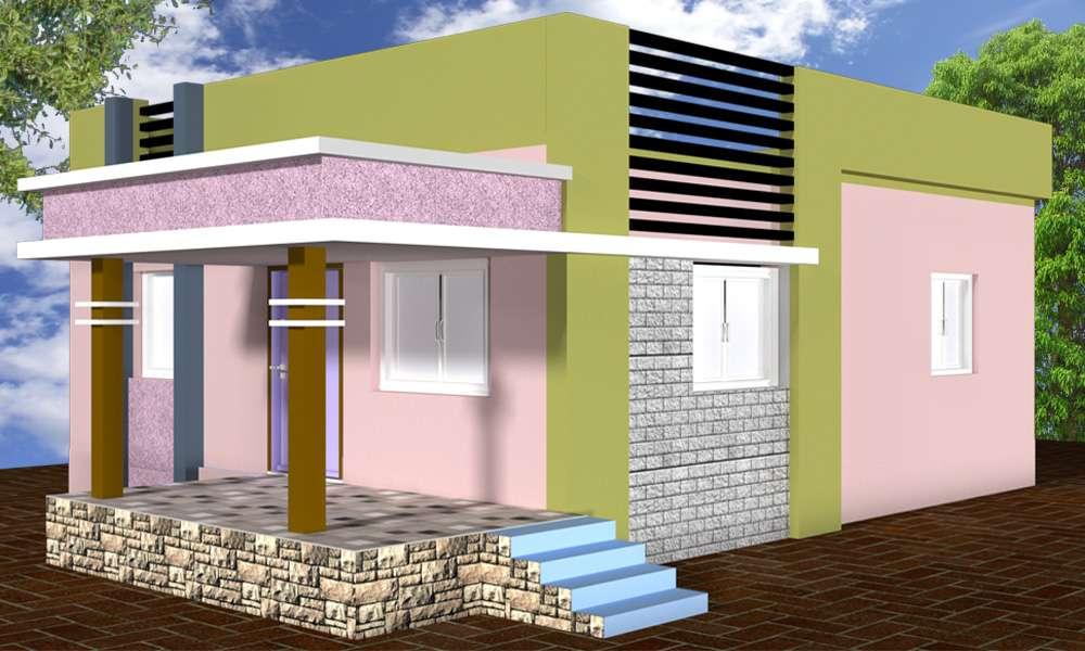 Ground Floor 3D simple home design - Cadbull