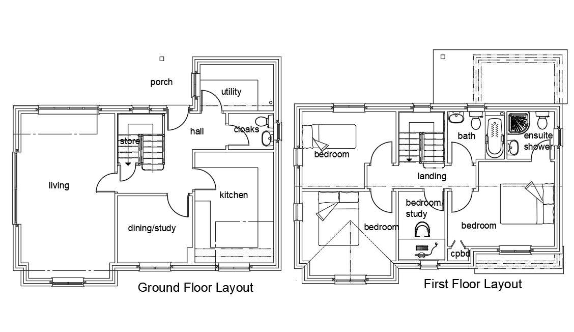 Ground Floor And First Floor House Sample Plan Autocad File Cadbull