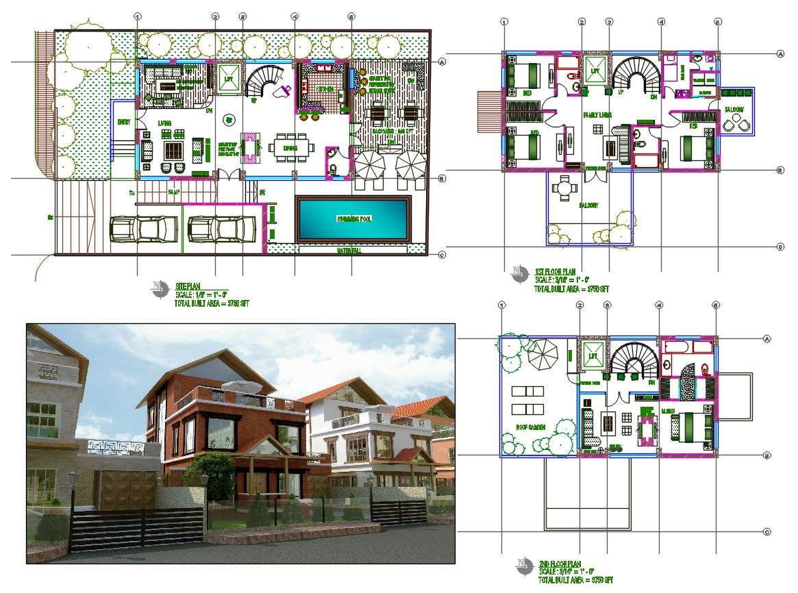 House Design With Swimming Pool And Garden Autocad File Cadbull